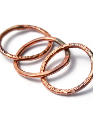 Linked Rings / Handmade Copper Links/ made when ordered