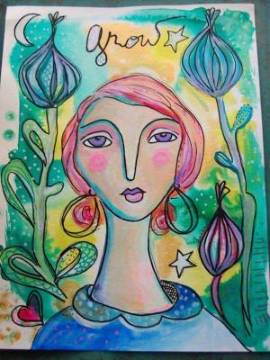 Grow a Magic Garden / Mixed Media Painting