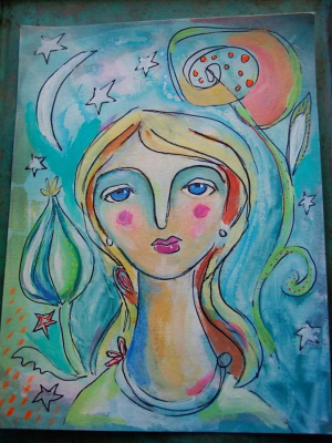 Moonlight Garden / Mixed Media Painting