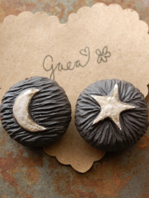 Moon and Star / Midnight Tone Ceramic Moon and Star Focal Bead