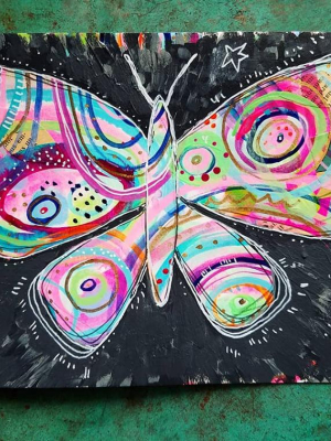 Black Magic Butterfly Dream / Mixed Media Painting