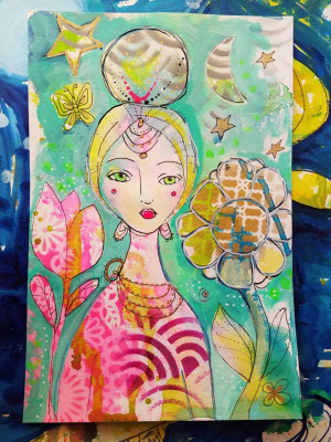 Garden Goddess / Mixed Media Painting