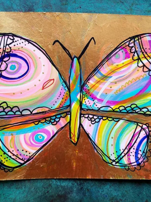 Golden Butterfly / Mixed Media Painting