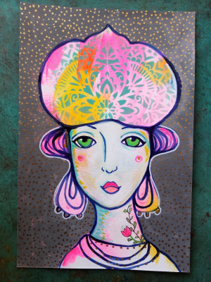 Golden Girl / Mixed Media Painting
