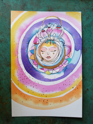 Mandala Goddess / Mixed Media Painting