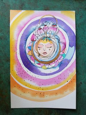 Mandala Goddess / Mixed Media Painting