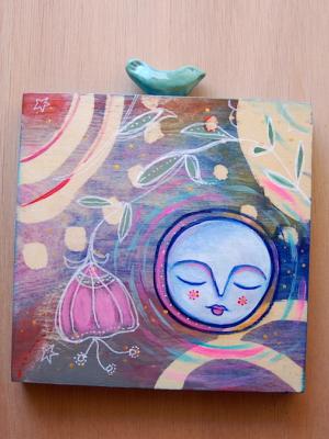 Full Moon Bird / Mixed Media Painting