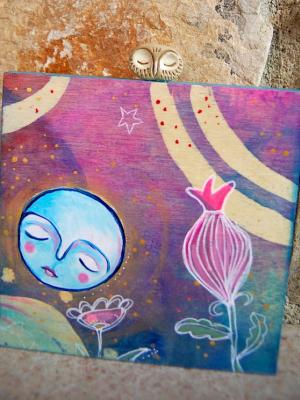 Full Moon Owl / Mixed Media Painting