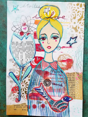 Star Love Goddess / Mixed Media Painting