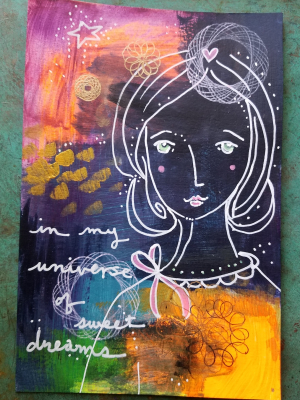 Sweet Dreams / Mixed Media Painting