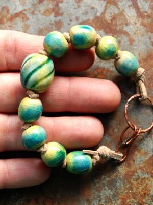 Seaweed / Ocean Tone Handmade Ceramic Bead Bracelet