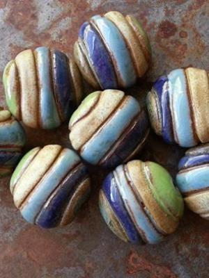Pre-Order / Horizons / Earth and Ocean Tone Ceramic Focal Bead