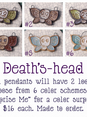 Pre-Order / Death's-head Moth Pendant / Ceramic Beads to be made