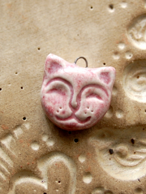 Pink Pussy Cat / Ceramic Cat Charm / Made to Order