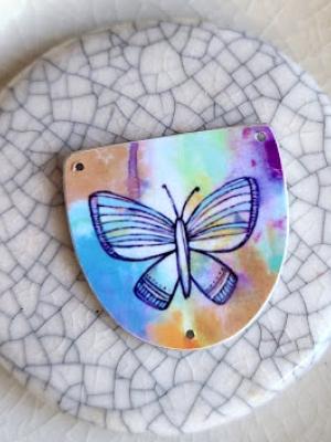Butterfly / Original Art on Metal Pendant