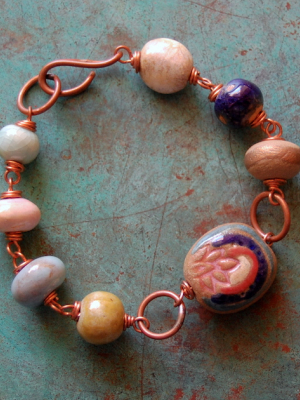 Lotus Gem / Double Sided Ceramic Bead and Copper Bracelet