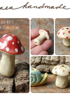 Mushrooms / Ceramic Mushroom Beads (pre-order)