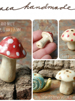 Mushrooms / Ceramic Mushroom Beads (pre-order)