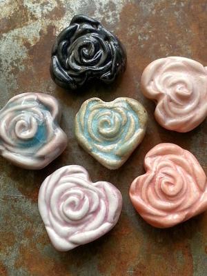 La Vie En Rose / Ceramic Heart Rose Bead Pre-Order