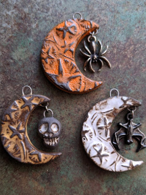 Spooky Moon / Ceramic Pendants To Be Made