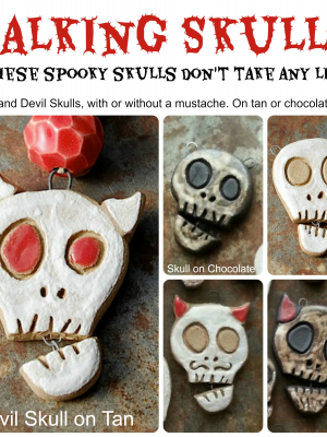 """Talking Skulls / Ceramic Skull """"Talking"""" Pendant"""