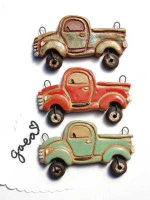 Pre-Order / On the Road / Vintage Ceramic Truck or Happy Camper Pendant