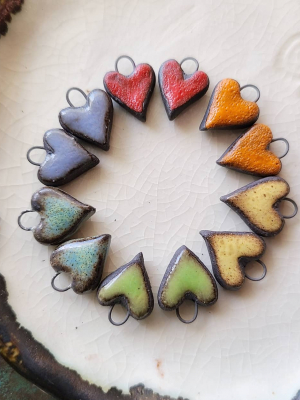 Mini Heart Pairs / Ceramic Charms Made To Order