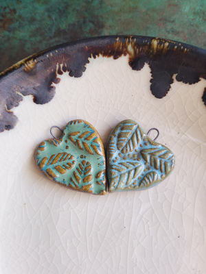 Feather Hearts / Ceramic Heart Pendant Made To Order