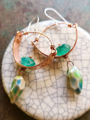 Sky Dancing / Stamped Copper, Ceramic and Green Onyx Earrings