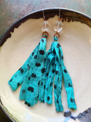 Polka Dot Summer / Copper and Quarts and Silk Earrings