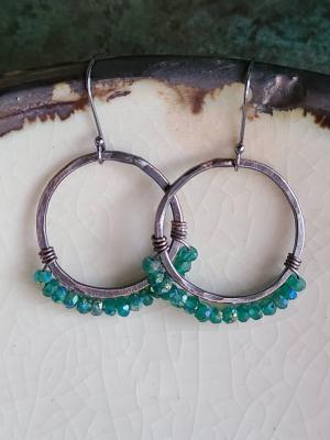 Secret Garden / Copper and Green Onyx Earrings