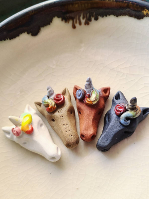 Rainbow Unicorn / Ceramic Pendant Made When Ordered