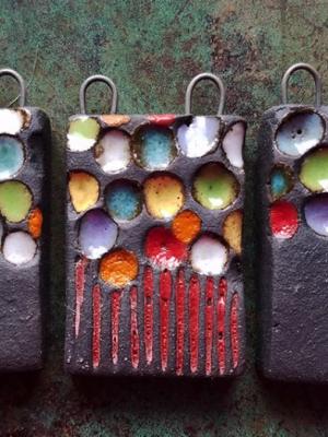 Blooming Dots / Ceramic Pendan